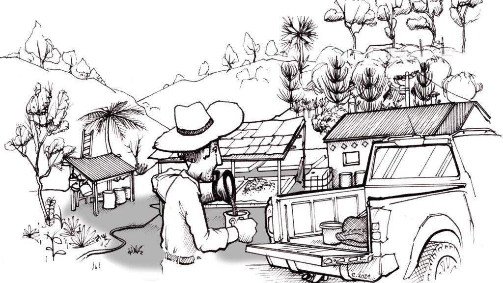 José auf der Farm. Er betreibt schon lange Kaffeeanbau und werkelt gerade vor sich hin.