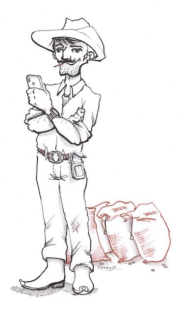 eine Comic Zeichnung vom Charakter Javier, dem Kaffeeexporteur. Er betreibt den Kaffeeexport schon sehr lange. Er kennt die Arbeit in der Wertschöpfungskette gut.