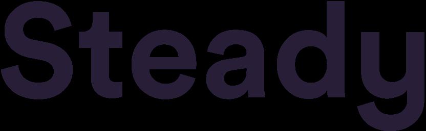 Das Logo der Plattform Steady als Wort. Die Buchstaben sind alle rund und lila alles auf weißem Hintergrund.