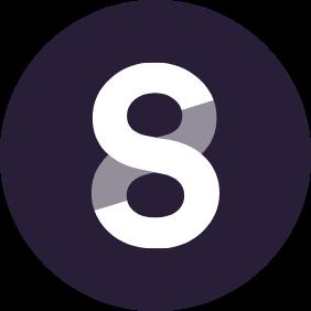 Das Logo der Plattform Steady. Lila Hintergrund, darauf ein weißes S, was nochmals grau hinterlegt ist, wodurch eine Acht entsteht.