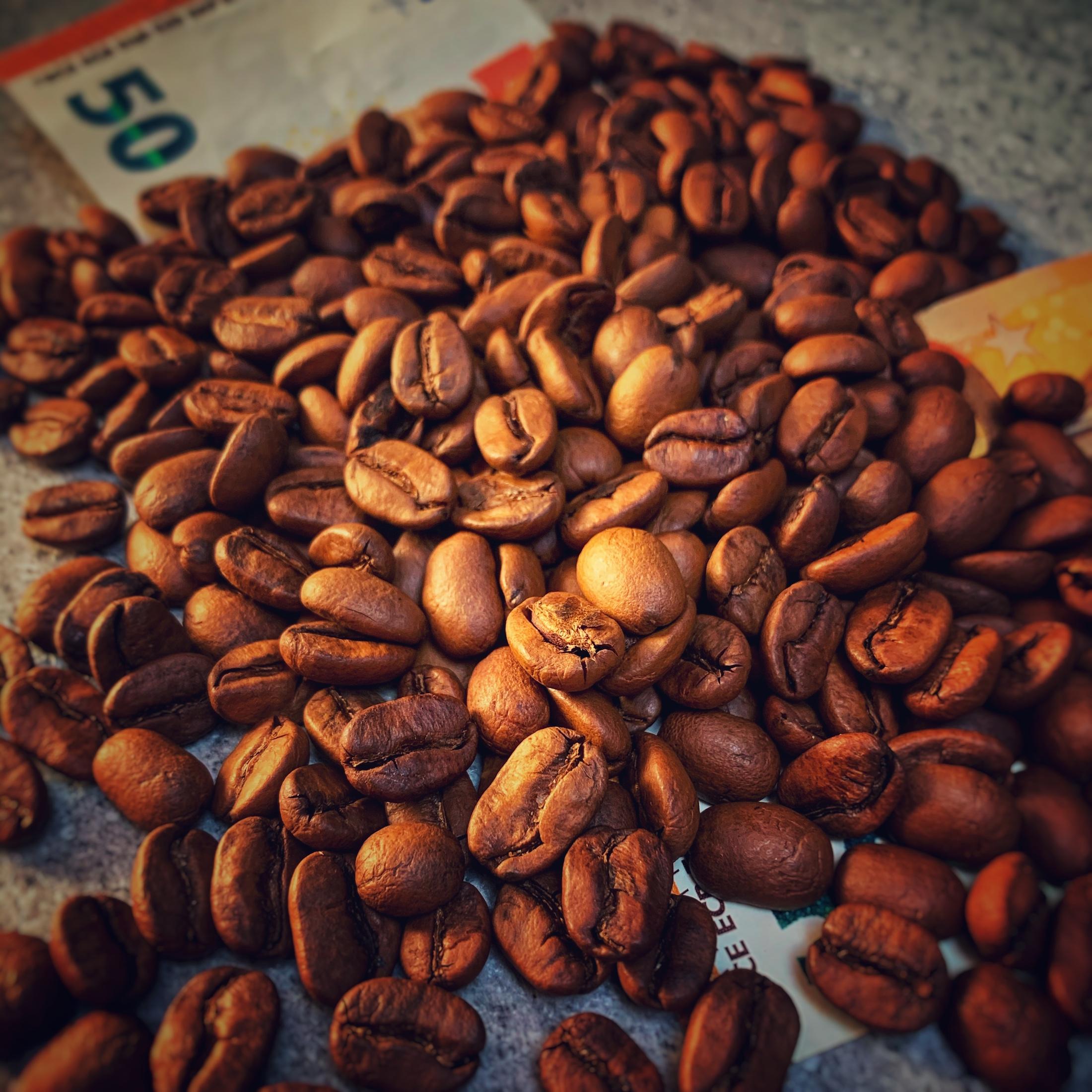Mit Kaffee kann man Geld verdienen und Gutes tun. Das geht sogar gleichzeitig. Im Bild sieht man einen Haufen aus Kaffeebohnen in dem zwei fünfzig Euro scheine stecken. Ein Synonym.