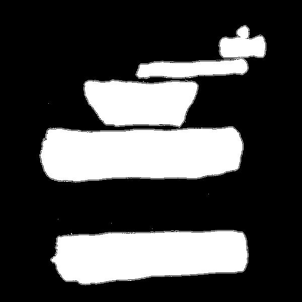 Das einfach mal Kaffee Logo. Eine stilisierte Kaffeemühle in weiß vor transparentem Hintergrund